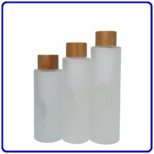 100ml/120ml 150ml frosted bamboo cosmetic cream glass bottle with wood lid