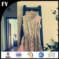 floral pattern digital printed 100% linen fabric for women dress