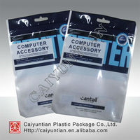 computer accessory plastic bags with zipper and hold
