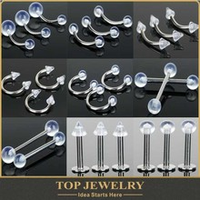 body jewelry tragus piercing Transparent Tragus Labret Bar Tongue Eyebrow Belly Lip Rings Piercings