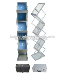 Display Newspaper Folded Acrtlic Material A4 7 Layers Brochure Holder with Hanging Aluminum Case