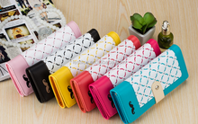 Korean fashion ladies Velcro wallets cute Plaid color beard money clip card holder women's wallet purse