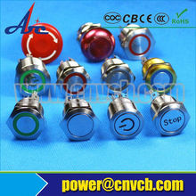 19mm momentary or latching type LED metal ring illuminated pushbutton switch