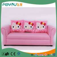 Hello kitty pink theme for kids three-seat sofa made in china leather sofa
