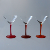 Sodalime red solid color stem high quality clear transparent crystal martini cocktail glass set