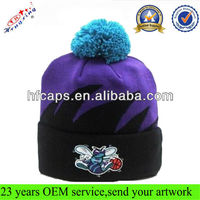 2013 Winter Fashion Knitted Beanie Hat/Embroidery and Jacquard Knitted Pattern Custom Beanie Hat with Pom pom