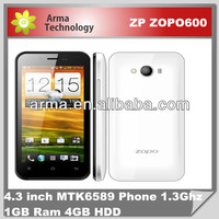 Original ZOPO ZP600+ 4.3 inch Naked Eye 3D Quad Core MTK6582 android phone 1GB RAM 4GB ROM 960*540 IPS screen 5MP GPS 3G phone