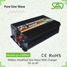 Best price 2000w solar power inverter 2000w pure sine wave with charger function 12v 220v dc to ac 85% efficiency with CE ROHS