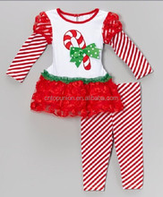 2015 new baby girls hot chirstmas candy cane dress pants sets christmas clothing sets christmas boutique outfits