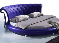 unique leather round bed made in foshan B23