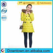 Fashion Collars Hooded Falbala Double-breasted Warm Women Down Coats