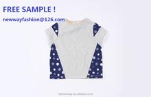 free sample! 2015 new design fashion colorful children's short sleeve t-shirt , dot print, cotton 100% soft fabric