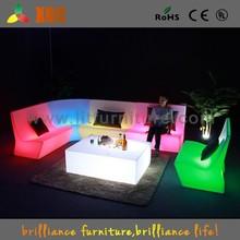 Night bar sofa with led lights, illuminated led sofa, plastic led sofa