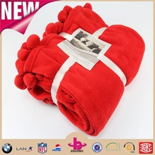 100% polyester coral fleece ball blanket super warm blanket with balls throw with balls