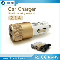 5V 2.1A Aluminum Material Dual Ports Universal USB Car Charger For iPhone 5 6 plus ipad Samsung Galaxy S4 S5