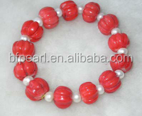 """wholesale 7"""" cheap pearl & 7-8mm red pumpkin shaped natural coral bracelet"""