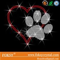 Love pawprint -Iron on Love paw Rhinestone Transfer Bling Hot Fix heart - DIY Love Shirts