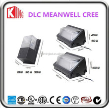 DLC UL ETL approved 5 years warranty meanwell IP65 exterior led wall pack light for building
