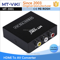 High quality Metal black HDMI to AV RCA converter with cvbs L+R output support PAL NTSC HDCP for TV, projector MT-H-AV02