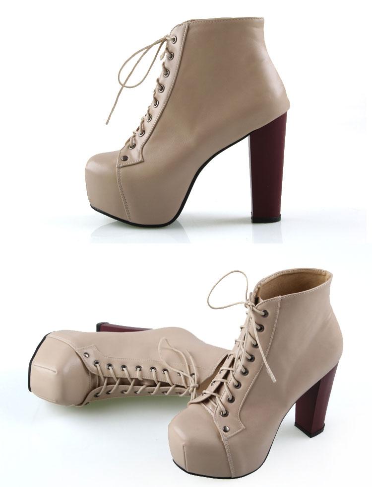 2014 Fashion Women Platform Chunky Spiked High Heel Punk Shoes