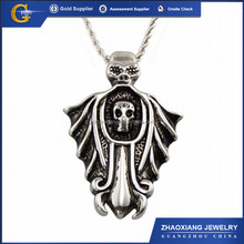 High Quality Hand Painted Stainless Steel Punk Phantom Skull Heart Biker Pendant RPC0011