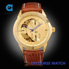 Fashion gold color alloy case day of the week watches