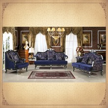 Amazing Original Rococo Style 3 Pieces Salon Set Dark Blue Upholstered Antique Chinese Furniture