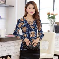AR060 chiffon retro printed korean elegant new style ladies office uniform blouses