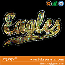 Sequin Eagles heat transfer with rhinestone hotfix motif applique iron on clothes sticks