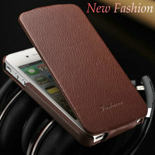For Apple brand mobile premium genuine leather flip design cell phone case for Iphone4/4S