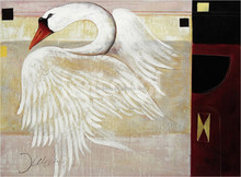Hot selling canvas oil painting design of white swan 57757