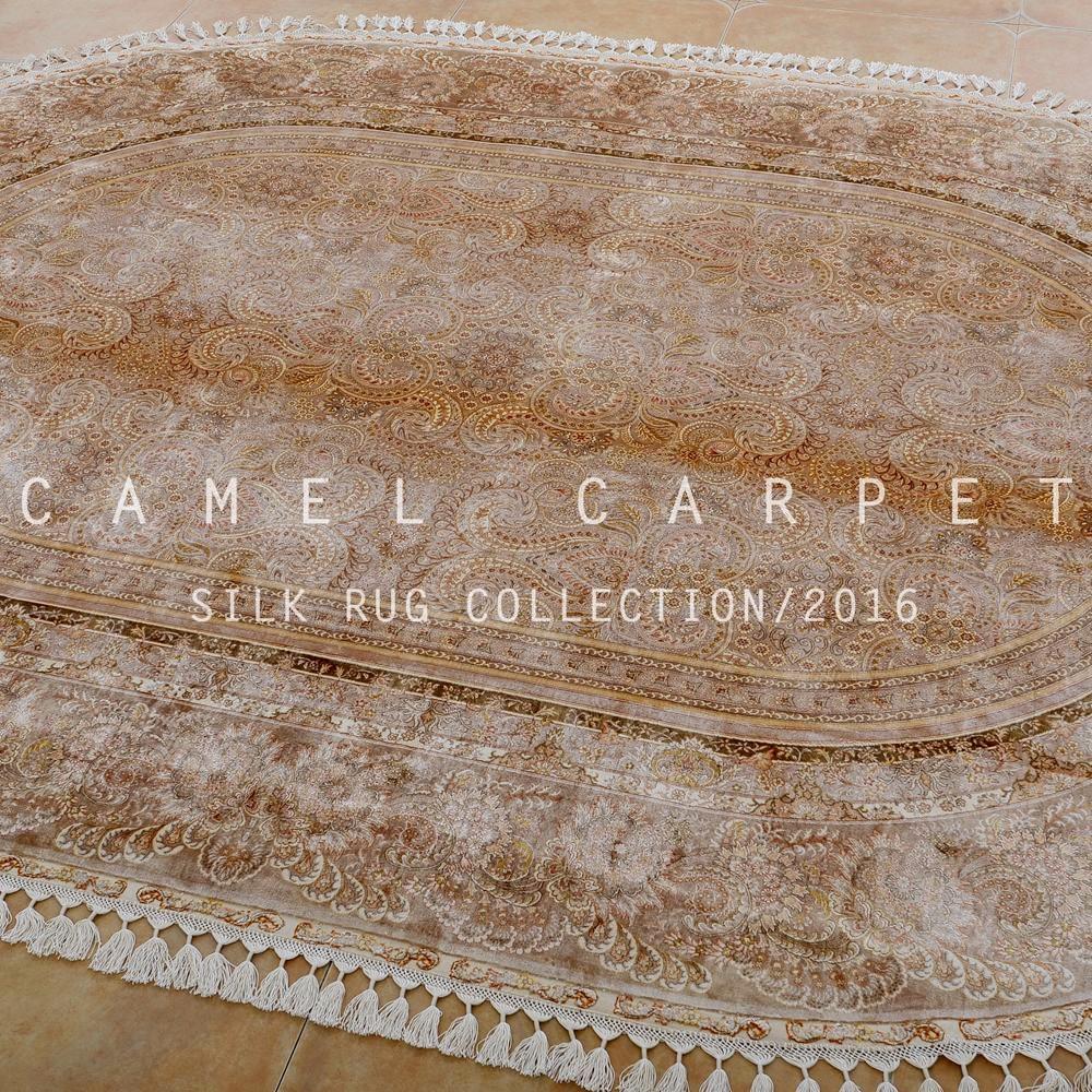 Handgemaakte perzische zijden kleed elegante beige gebied tapijt ...
