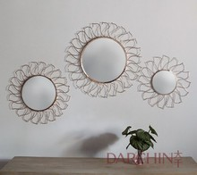 Sunshine Fire Round Flower Acrylic 3D Mirror Wall Decal, Gold