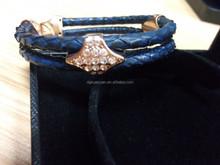 Fashion design diamond pave 2015 new snake leather bracelet