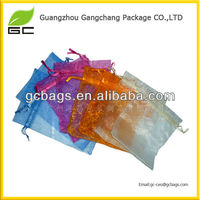 Hot sale popular design printed logo organza bags with drawstring