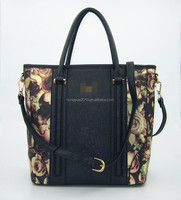 Hot fashion rose print lady tote with hard feeling