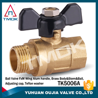 male/famle brass ball valve with thread material Hpb57-3 and forged CW617n with one way motorixzed and high pressure