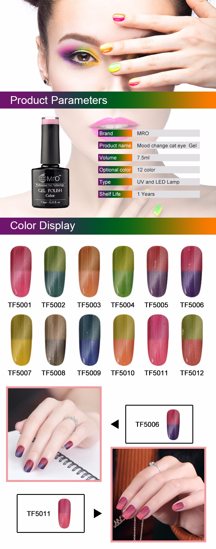 Mood Change Cat Eye Gel 12 Colors Uv Gel Nail Polish Kit - Buy Mood ...