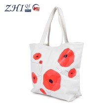 BSCI new arrival 2015 big foldable flower printing canvas shoulder shopping bag wholesale for women