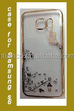 Hot Sale transparent case,colored case,PC Case with Electroplating and Laser Pattern for Samsung S6