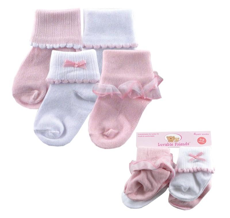 Носки для девочек Luvable Friends 0/12 4pair /lot Luvable baby 4 24070