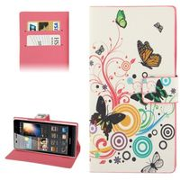 Butterfly Pattern Leather Cute Case for Huawei Ascend P6