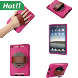 For iPad Mini Case Cover Durable Hybrid Rugged Stand Shockproof Case Cover for iPad Mini 3 2 1 with Hand Strap