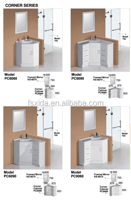 MDF corner bathroom cabinet vanities