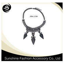 Unique gun black plated pointed metal necklace,metal choker neckalce,welcome to order