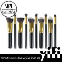 Cheap china cosmetics synthetic makeup brush sets 10pcs hair brush with mesh bag kabuki brush
