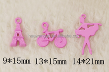 New design mixed color initial success custom made Eiffel Tower,bicycle,dancer shaped pendant for necklace