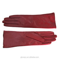Wholesale women red leather gloves,Sheep skin with wool lining, high quality (F103)