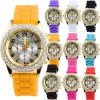 New Fashion Bling Crystal Ladies Women Girl Jelly Silicone Quartz Wrist Watch