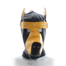Best Selling Open Eyes Women Yellow Dog Leather Head Hood Male Bondage Sex Toys Female Restraint Head Hood Full Face Mask